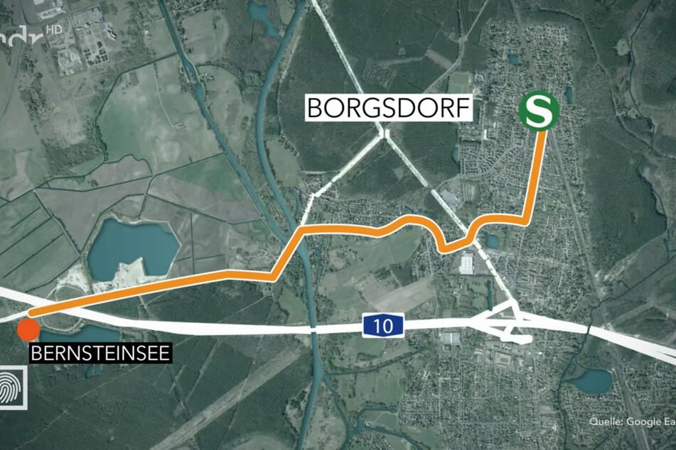 Der Fußweg der Siebtklässlerin sollte sie vom S-Bahnhof Borgsdorf an den etwa drei Kilometer entfernten, heutigen Bernsteinsee an der Autobahn 10 führen.