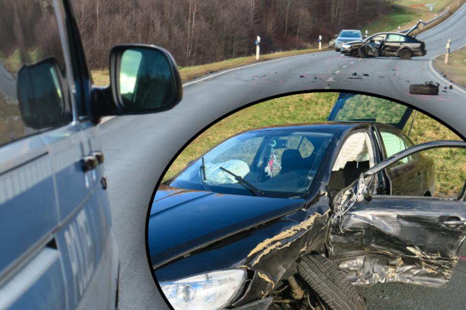Erzgebirge: Crash auf Autobahnzubringer, drei Verletzte