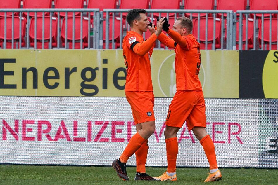 FCE-Spieler Sören Gonther (l.) und Ben Zolinski wollen am Sonntag ihren Ex-Verein Paderborn ärgern.