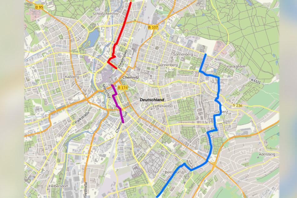 Zwei der drei Vorschläge für die Modell-Route führen in die Innenstadt. Eine verbindet drei Stadtteile im Osten von Chemnitz.