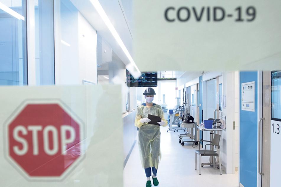 Blick in die abgeschirmte Corona-Intensivstation im Universitätsklinikum Dresden. Derzeit werden hier fünf Corona-Patienten behandelt.