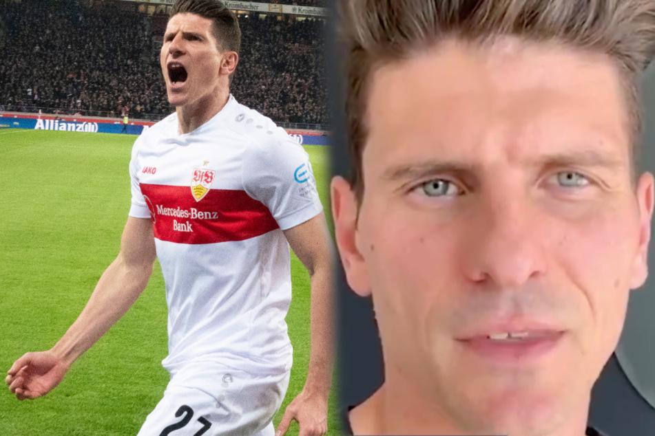 VfB-Stürmer Mario Gomez (34) bittet in einer Video-Botschaft (rechts im Bild) alle im Kampf gegen das Coronavirus zuhause zu bleiben. (Fotomontage)