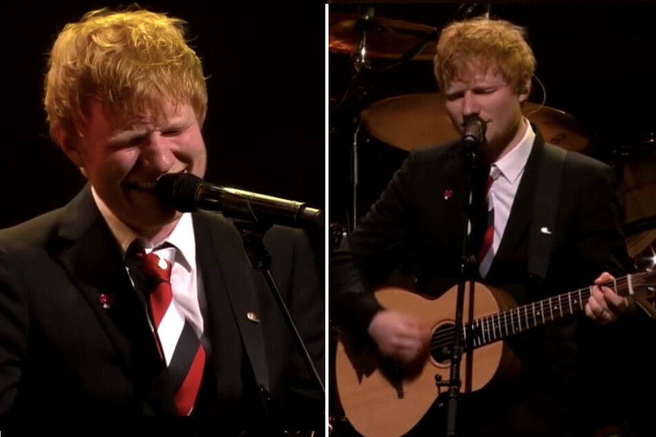 Ed Sheeran sings moving tribute and exits the stage in tears