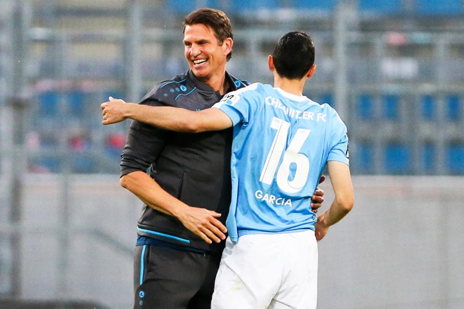 Patrick Glöckner (l.) trainierte Rafael Garcia in der vergangenen Saison beim Chemnitzer FC. Im Sommer haben sich die beiden gemeinsam dem SV Waldhof Mannheim angeschlossen.