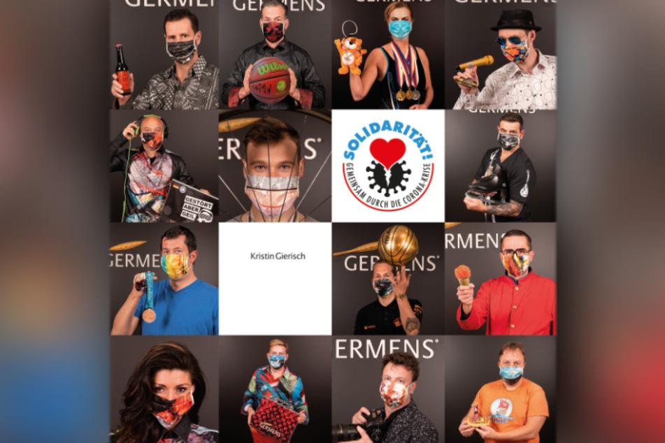 Mit einem großen Plakat werben Promis demnächst an der Hartmannstraße für bunte Gesichts-Masken.