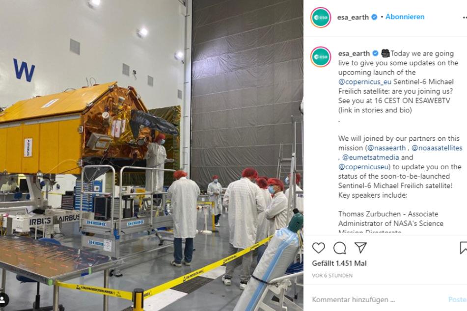 Der Satellit Sentinel-6 ist ein gemeinsames Projekt von ESA und NASA und wird im November ins Weltall befördert. Auf Instagram werden regelmäßig Updates gepostet.