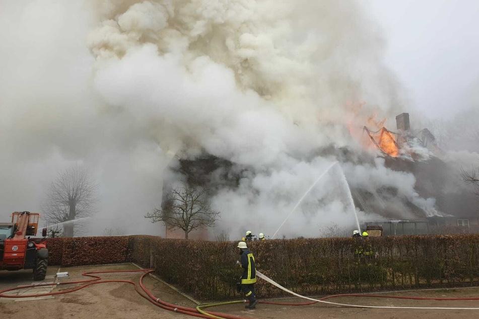 Flammen zerstören historisches Reetdachhaus von Waffenfabrikant