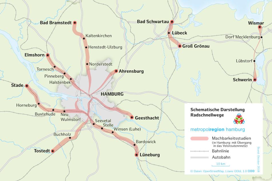 Sieben Radschnellwege sollen nach Willen der Planer aus dem Umland nach Hamburg führen.