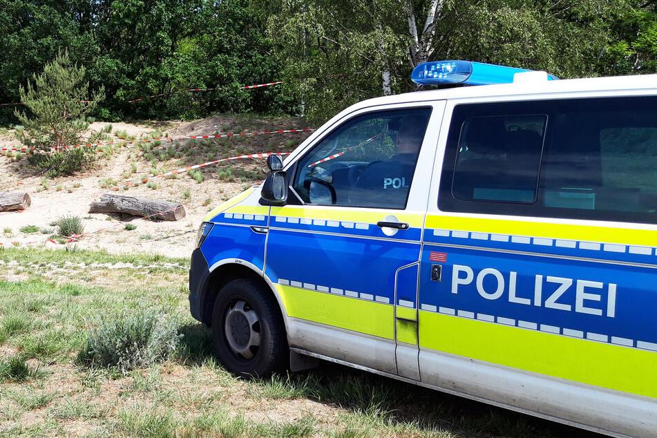 Ein Fahrzeug der Polizei steht in einem Park.