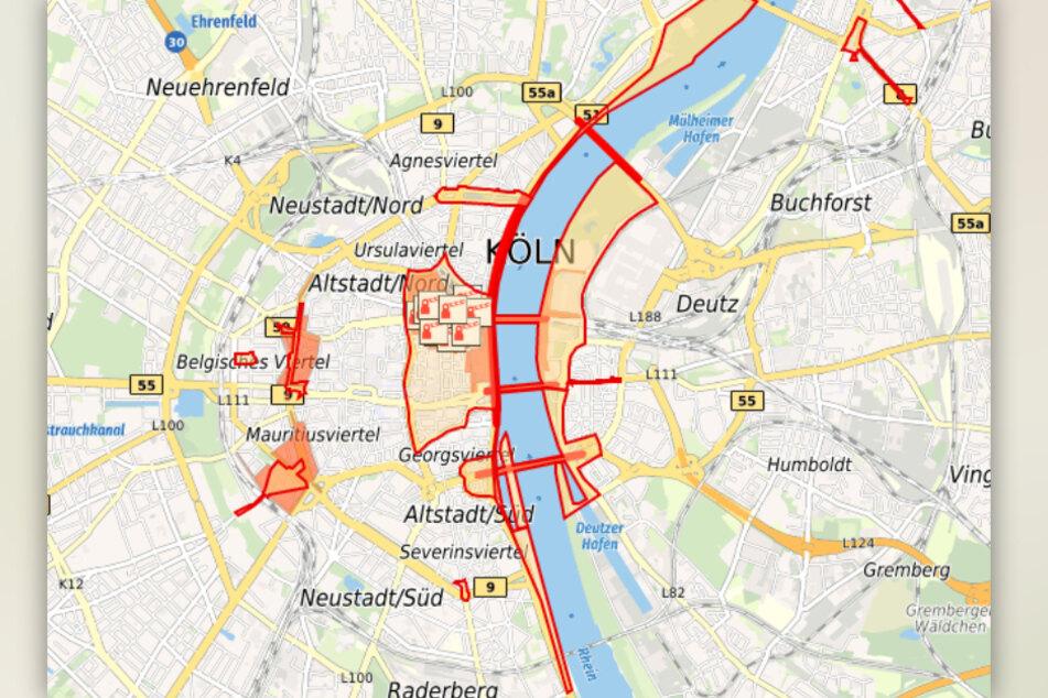 Die Stadt Köln hat eine Karte veröffentlicht, auf der sämtliche Verbotszonen markiert sind.