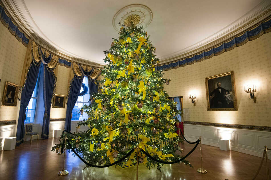 A large Christmas tree stands in the festively decorated Blue Room.