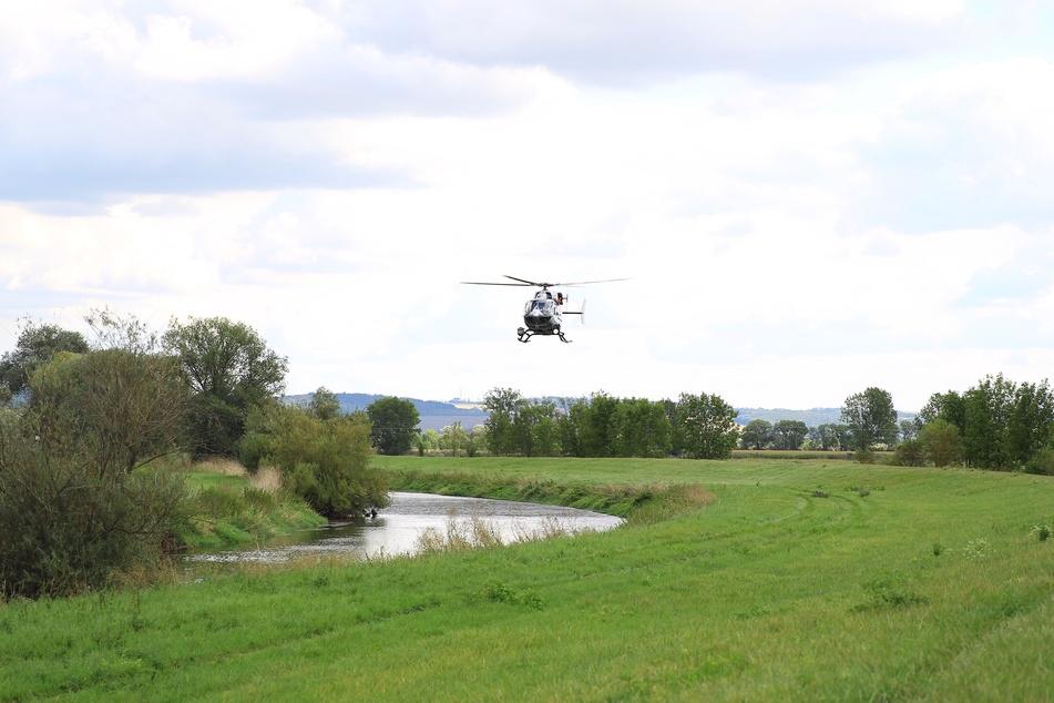 Ein Hubschrauber suchte das vermeintliche Krokodil.