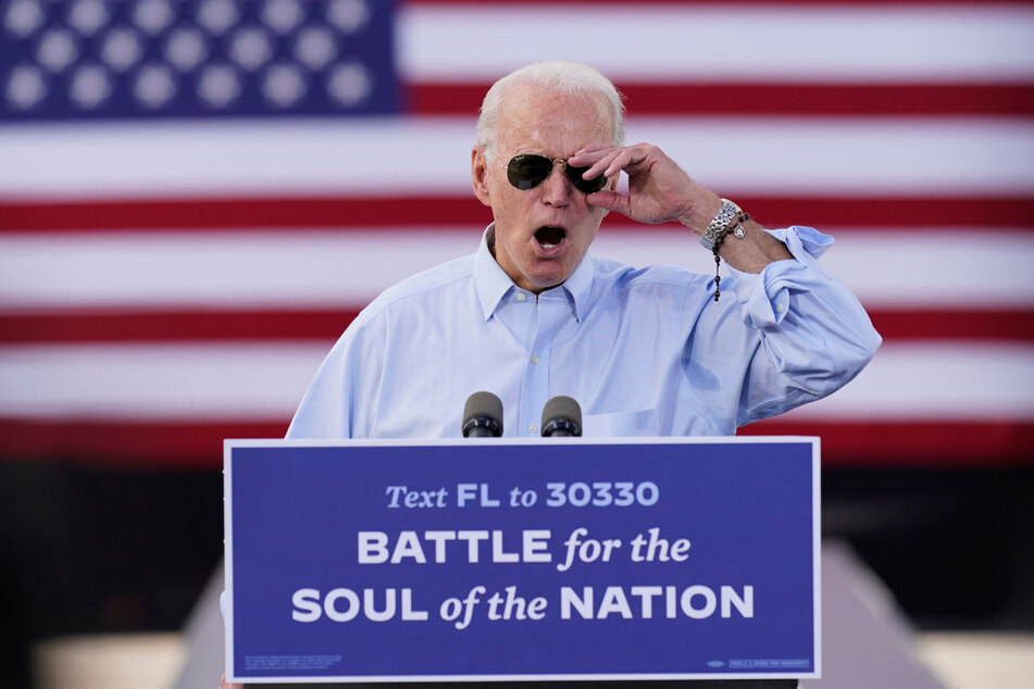 Joe Biden (77), demokratischer Präsidentschaftskandidat und ehemaliger US-Vizepräsident, hält seine Rede am Donnerstag bei der Wahlkampfkundgebung am Broward College in Coconut Creek.