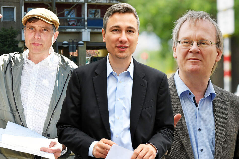 Stadtrat Thomas Löser (49, Grüne), Baubürgermeister Stephan Kühn (41, Grüne) und Linken-Rat Tilo Wirtz (53).