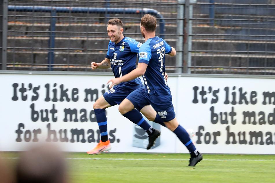 Christian Bickel (l.) war mit zwei Treffern der entscheidende Chemnitzer.