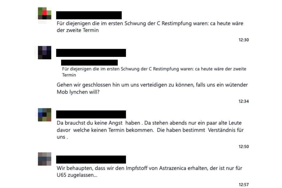 Ein Auszug aus dem Chatverlauf des THW Zwickau zum Thema Impfen.