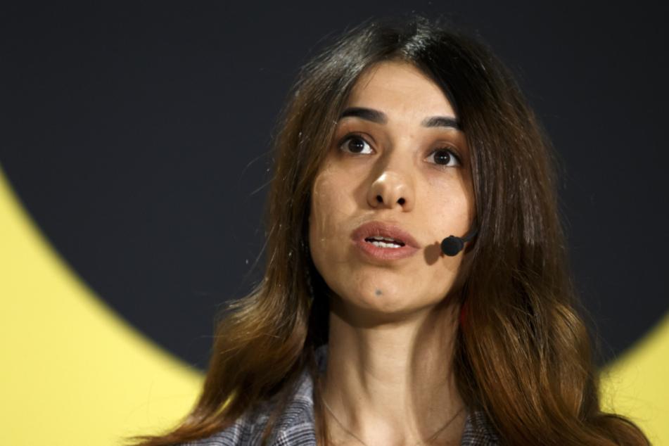 Friedensnobelpreisträgerin 2018, bei einer Diskussion im europäischen Hauptquartier der Vereinten Nationen.