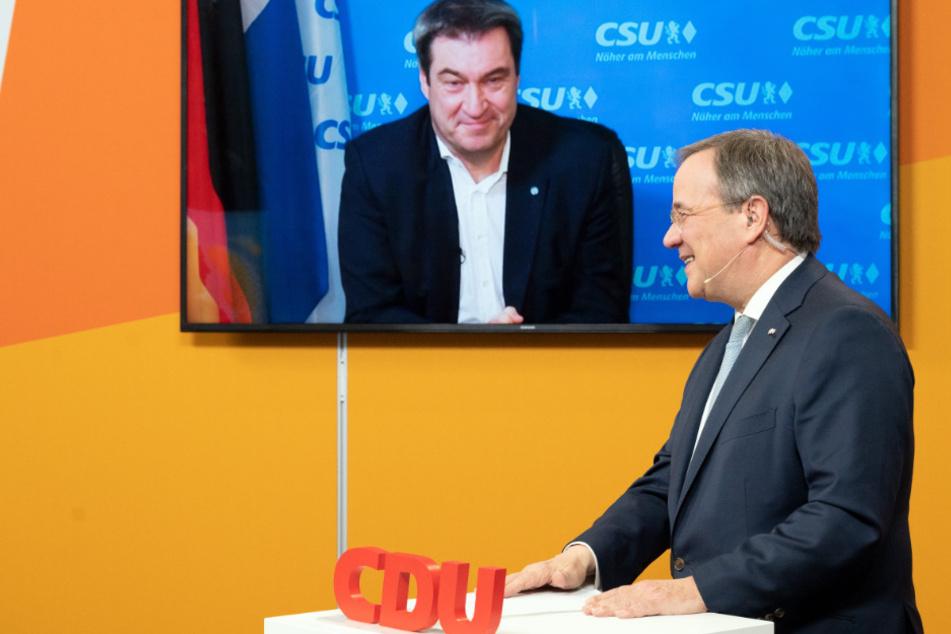Machtkampf um K-Frage: Laschet und Söder werben um Zustimmung