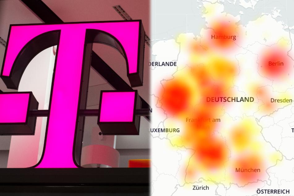 Die Montage zeigt links das Logo der Telekom und rechts eine Grafik, welche die betroffenen Gebiete zeigt.