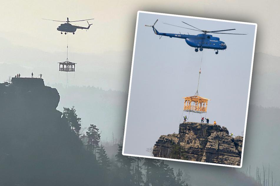 """Per Hubschrauber eingeflogen! Neuer """"Balkon"""" für Böhmische Schweiz"""