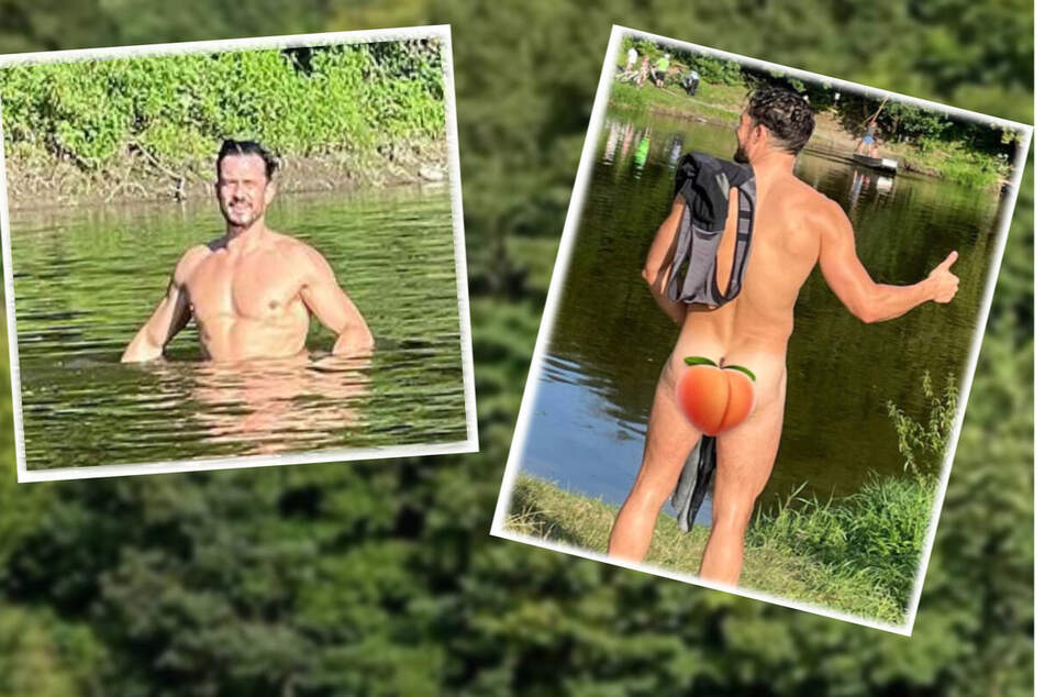Orlando Bloom shows he's peachy keen to bare it all