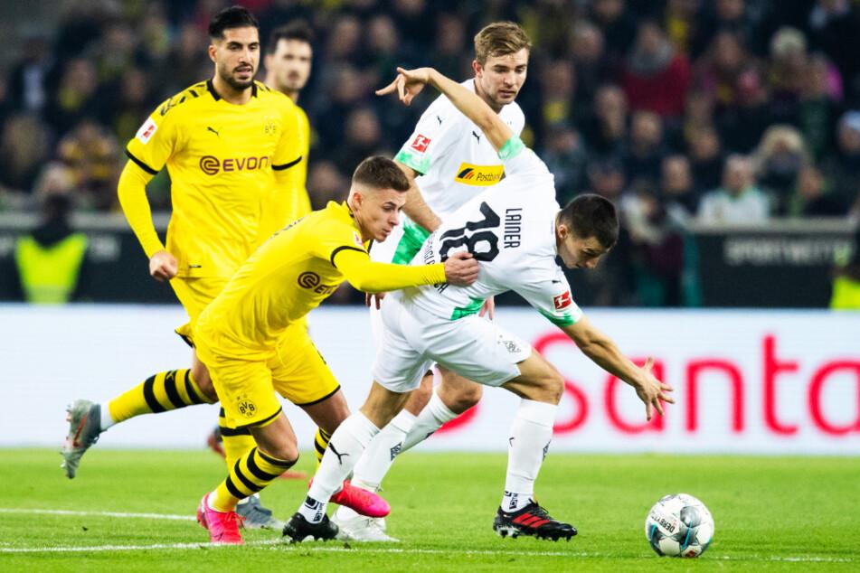 Thorgan Hazard (vorne-links) schoss den BVB gegen seinen Ex-Klub mit 1:0 in Führung.