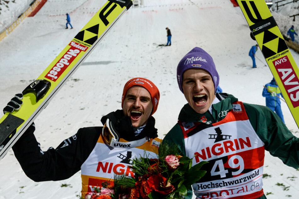 Richard Freitag (l) und Andreas Wellinger (r) wurden als das Skisprung-Topduo aus Deutschland gehandelt.