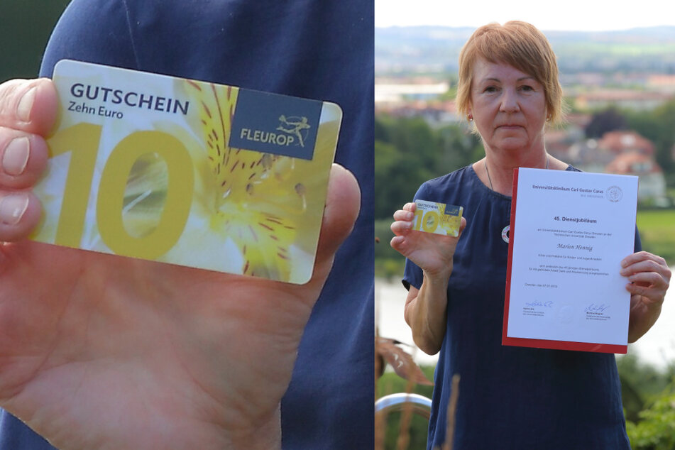 Marion Hennig (63) ist enttäuscht von ihrem (Ex-)Arbeitgeber, der Urkunde und Gutschein via Post schickte.