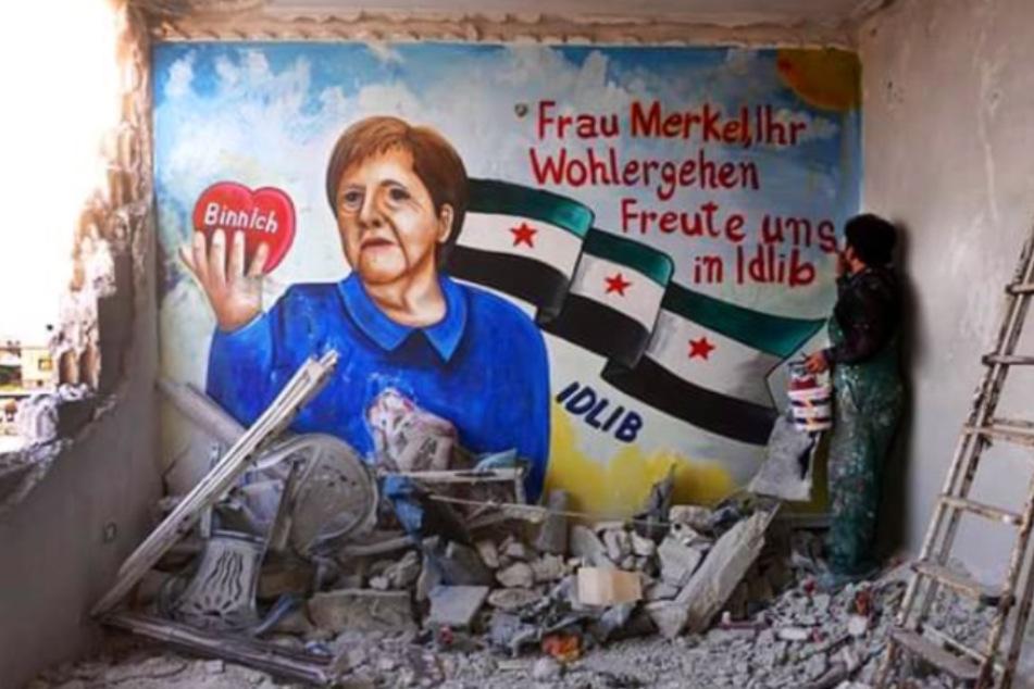 Mit diesem Graffiti bedankten sich die syrischen Künstler bei Angela Merkel.