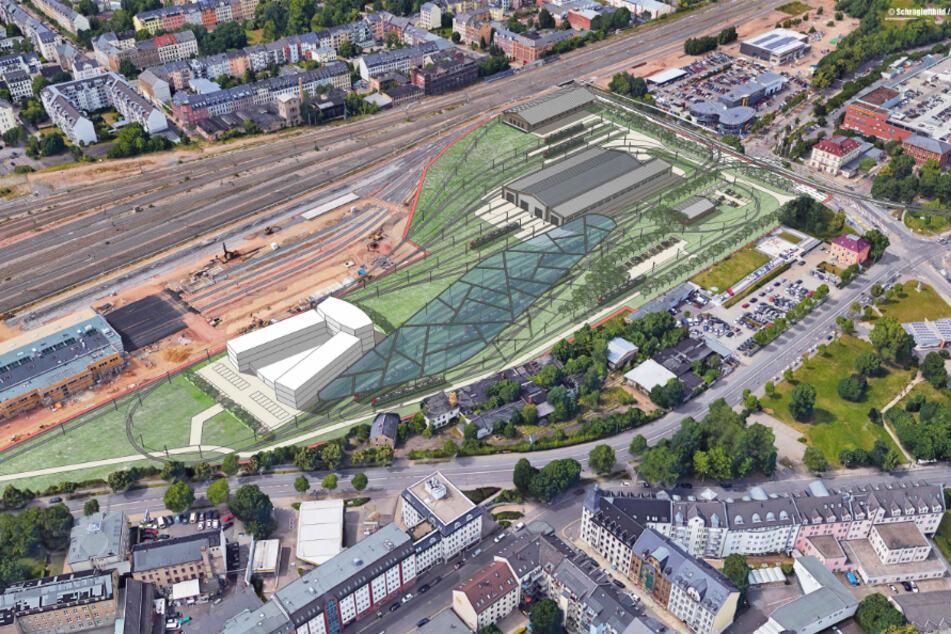 Diese Visualisierung zeigt, wie der neue VMS-Betriebshof an der Dresdner Strasse aussehen könnte.
