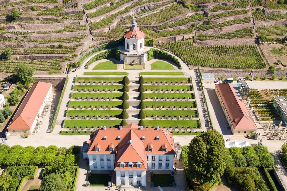 Blick auf die Weinberge und den Barockgarten von Schloss Wackerbarth, aufgenommen mit einer Drohne.