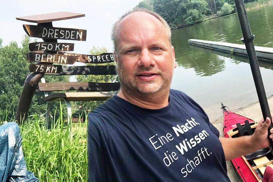 OB Dirk Hilbert (48, FDP) fuhr 180 Kilometer mit seinem Paddelboot.