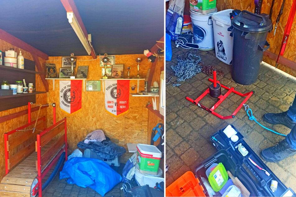 An den Wänden Pokale und Urkunden, Unrat auf dem Fußboden: Die Polizei Opole durchsuchte das Grundstück eines 41-jährigen Verdächtigen.