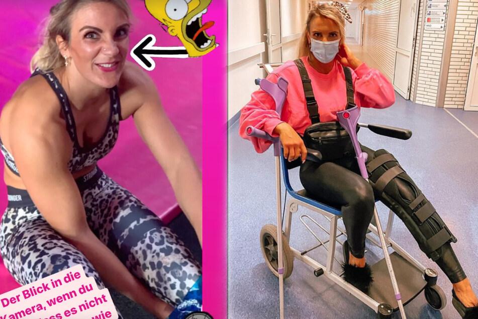 Alicia Melina (32) nach ihrem Unfall (l.) und später im Rollstuhl.