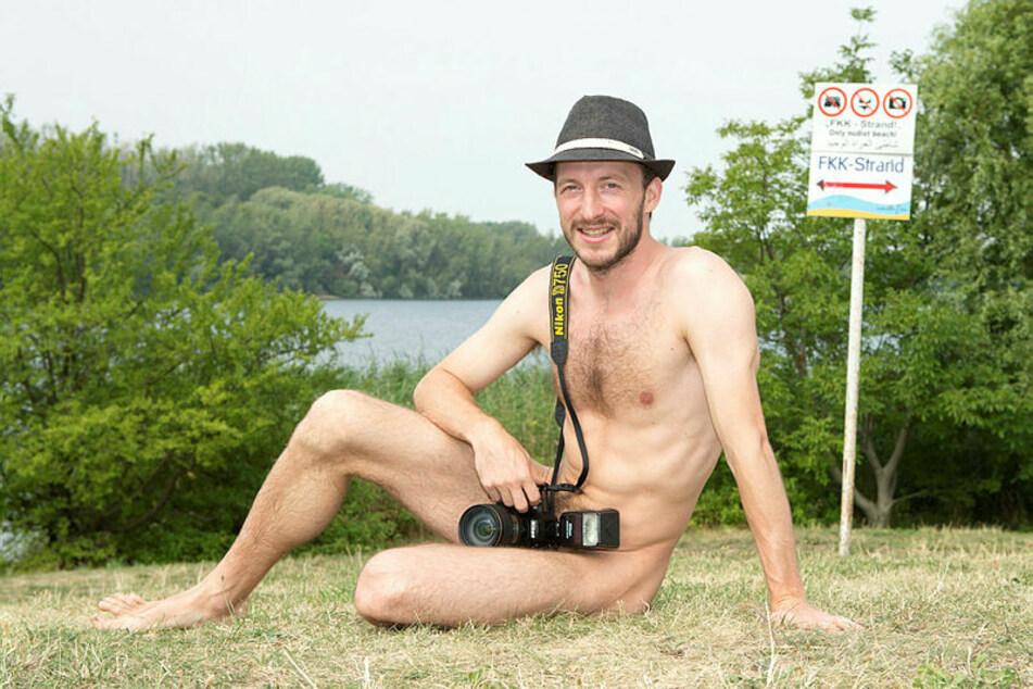 Mit der Kamera am Kulkwitzer See: FKK-Fotograf Norbert Sander (35) ist in der Naturistenszene längst eine feste Größe.