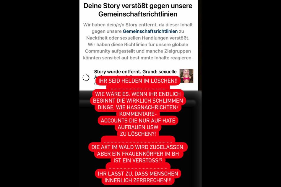 Screenshot aus der Instagram-Story von Mia Julia Brückner, in der sie das Vorgehen von Instagram verurteilt.
