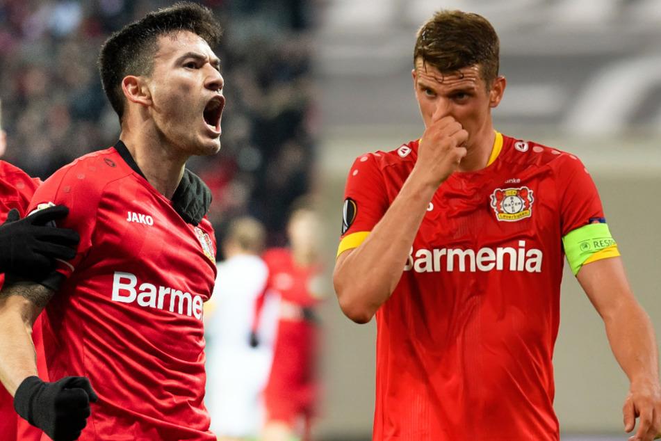 Lars Bender (31, r.) ist nicht mehr Kapitän von Bayer Leverkusen. Sein Nachfolger wird der Chilene Charles Aránguiz (31). (Bildmontage)
