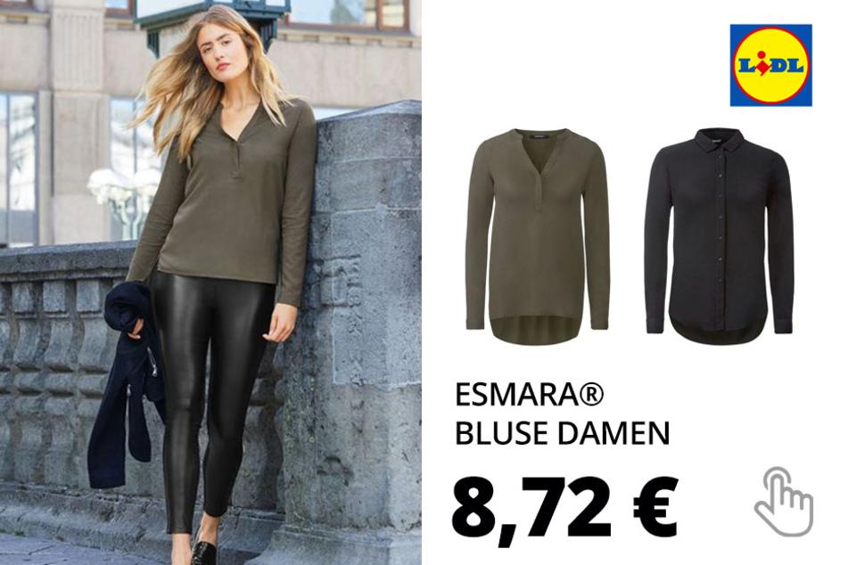 ESMARA® Bluse Damen, mit Kellerfalte, Seitenschlitze