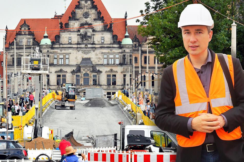 Die Fußwege der Augustusbrücke sind bereits fertig, der Rest folgt im Laufe des Jahres. Baubürgermeister Stephan Kühn (41, Grüne) freut sich über die Fördergelder des Landes.