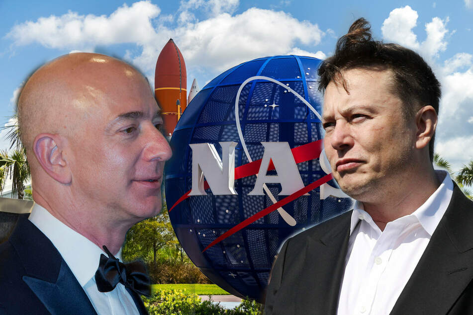 Jeff Bezos (l.) and Elon Musk are competing for space exploration contracts.