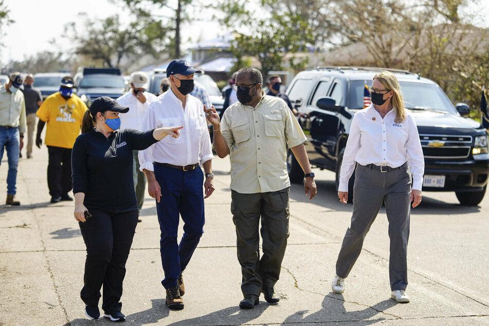 Biden tours the Cambridge neighborhood in LaPlace, Louisiana, which was damaged by Hurricane Ida.