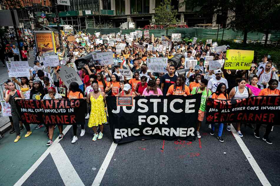 Hundreds of protesters marched through lower Manhattan in 2019 to demand justice for Eric Garner.