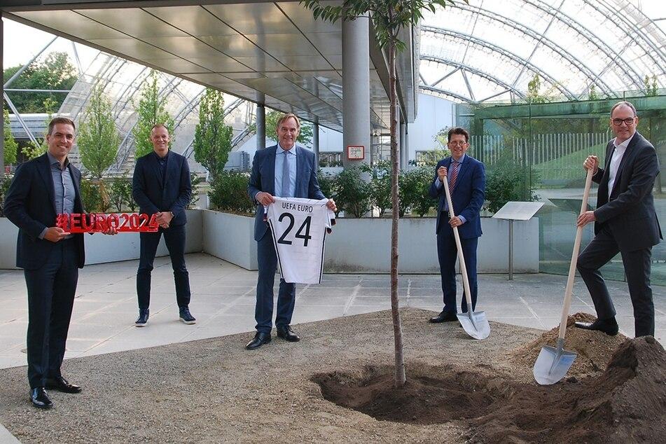 Bis zur EM 2024 soll dieser frisch gepflanzte Baum zwei Meter höher gewachsen sein.