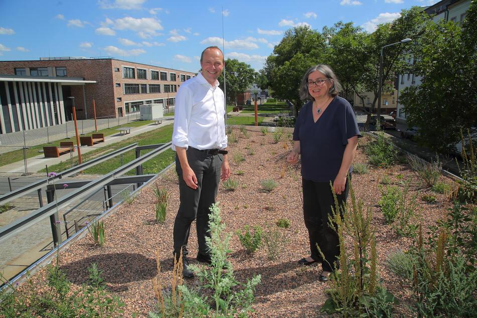 """Umweltbürgermeisterin Eva Jähnigen (54, Grüne) und Umweltminister Wolfram Günther (47, Grüne) auf dem begrünten Dach des """"Geh 8""""."""