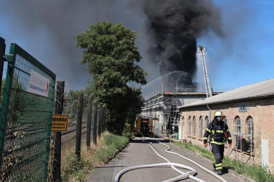 Rauch kilometerweit sichtbar: Schwerverletzter bei Brand einer Lagerhalle