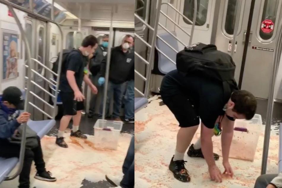 Typ verschüttet Wanne mit Müsli in U-Bahn und erntet unerwartete Reaktionen
