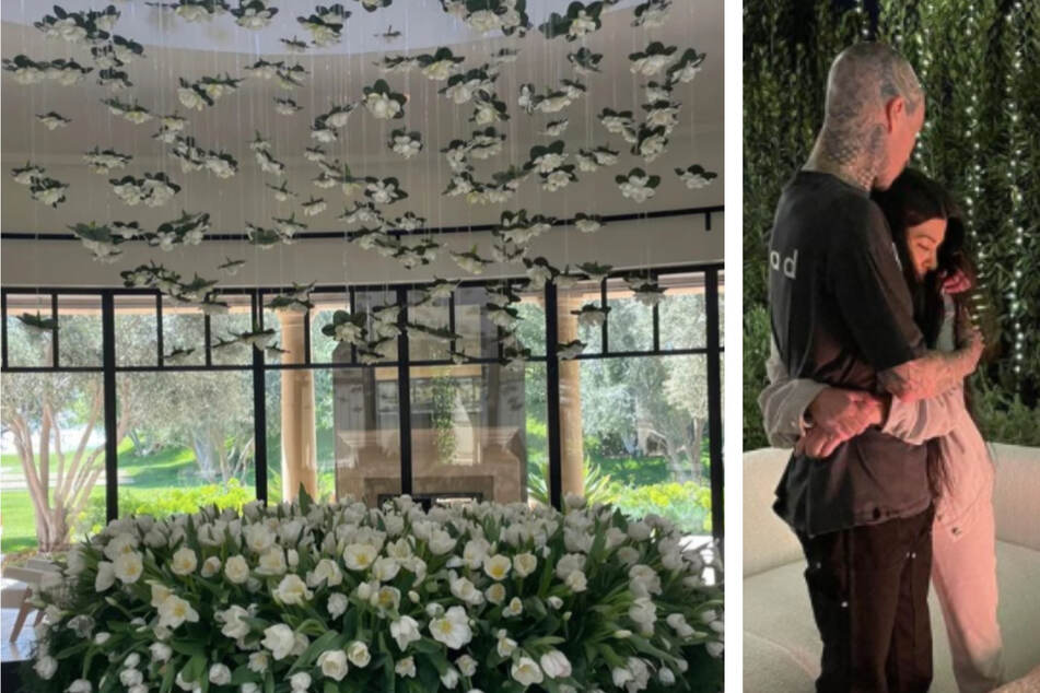 Kourtney showed off the huge flower display that boyfriend Travis Barker gifted her for her birthday (l.). Travis shared a new photo of the couple in his Instagram birthday tribute (r.)