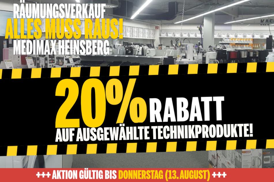 Wegen Schließung bekommt Ihr in Heinsberg jetzt 20 % Nachlass auf ausgewählte Produkte!