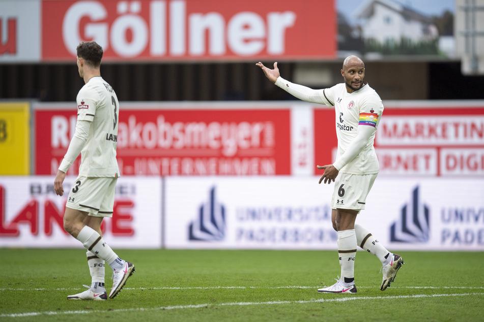 FC St. Pauli-Kapitän Christopher Avevor war mit seinem Ballverlust entscheidend am Gegentreffer zum 0:2 für den SC Paderborn beteiligt.