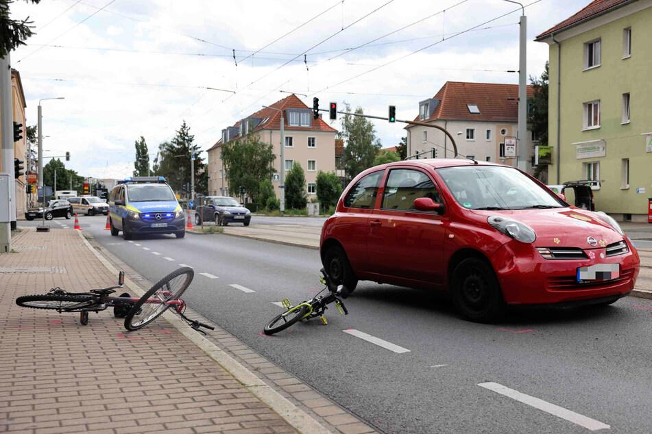 Der Unfall ereignete sich auf der Bodenbacher Straße in Dresden-Seidnitz gegen 11.40 Uhr.